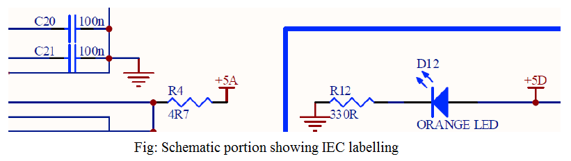 Schematic portion showing IEC labelling