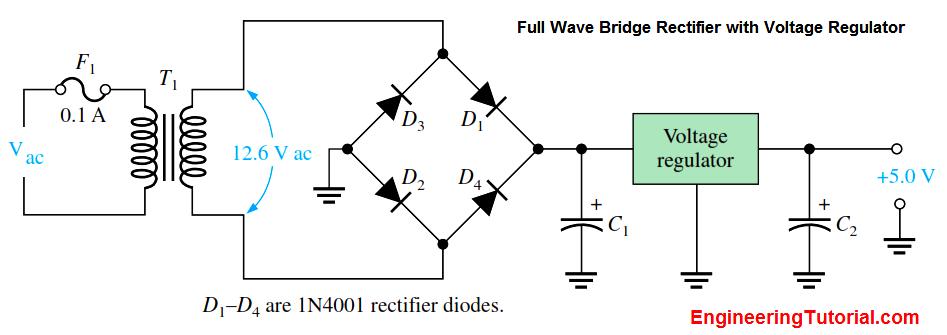 Full Wave Bridge Rectifier with Voltage Regulator