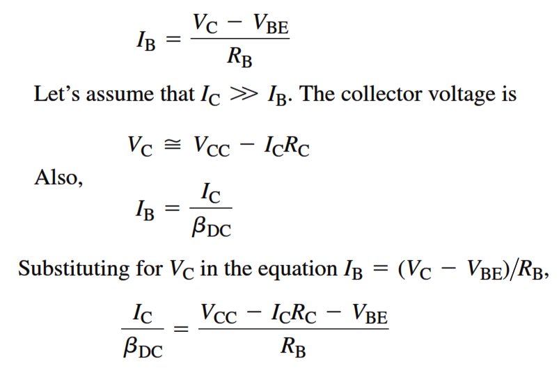 Transistor Collector Feedback Bias Derivation